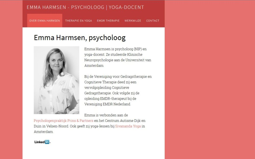 website psycholoog Emma Harmsen door Alfabet Produkties