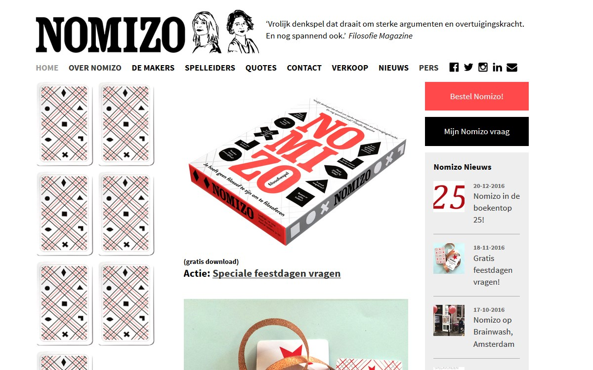 website Nomizo filosofiespel door Alfabet Produkties