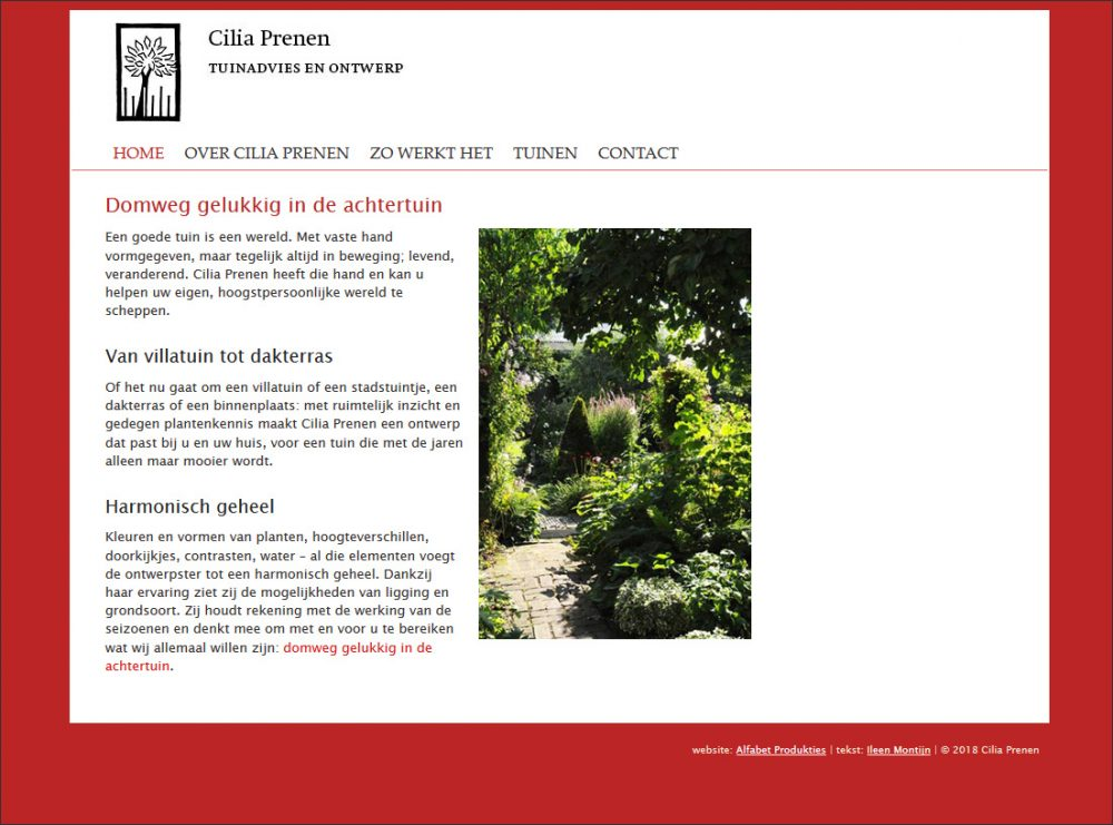 website Cilia Prenen Tuinarchitect door Alfabet Produkties