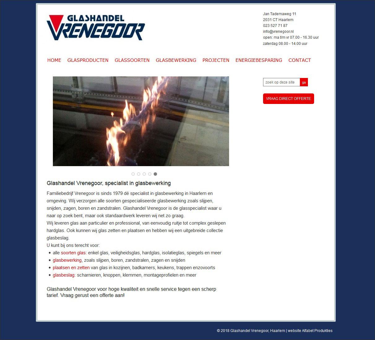 website Glashandel Vrenegoor
