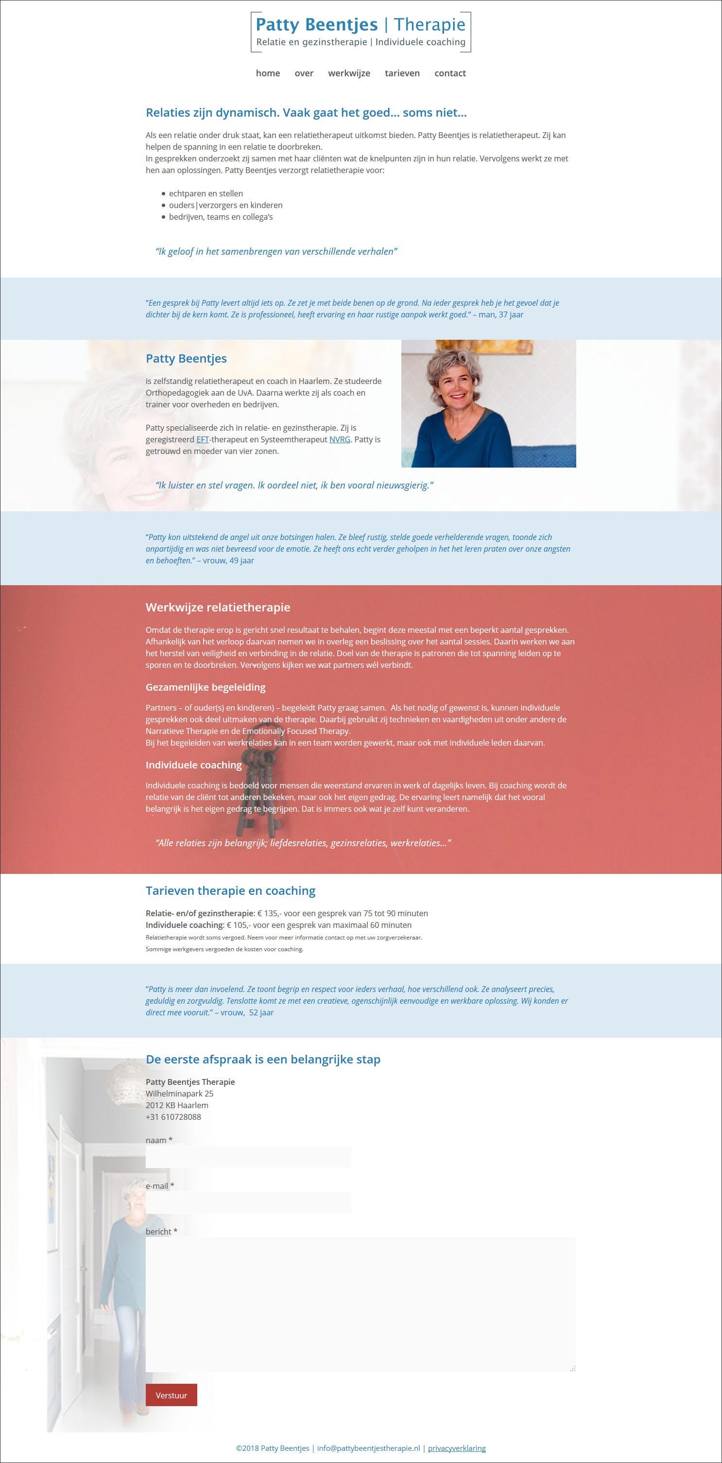 website Patty Beentjes, relatie- en gezinstherapie