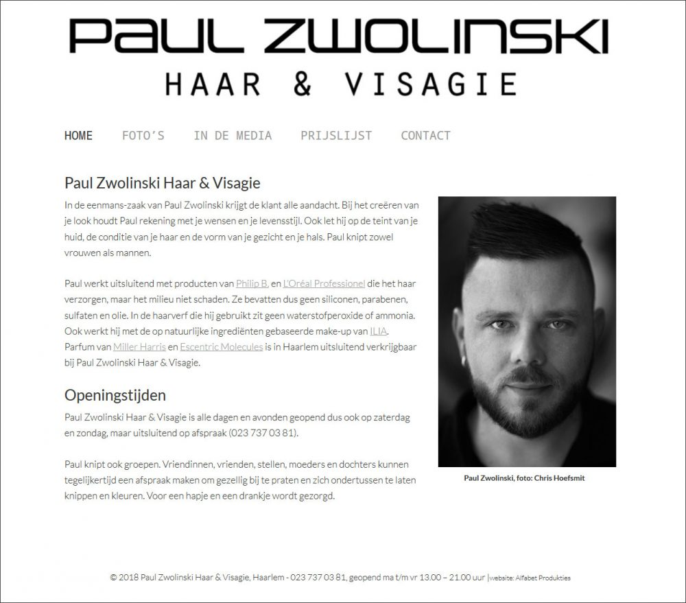website Paul Zwolinski Haar & Visagie door Alfabet Produkties
