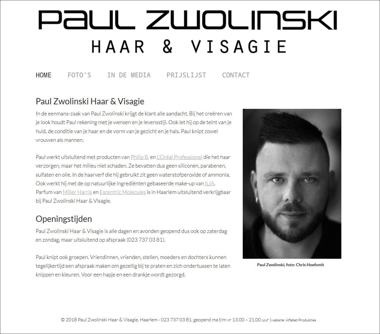 website Paul Zwolinski Haar & Visagie door Alfabet Produkties