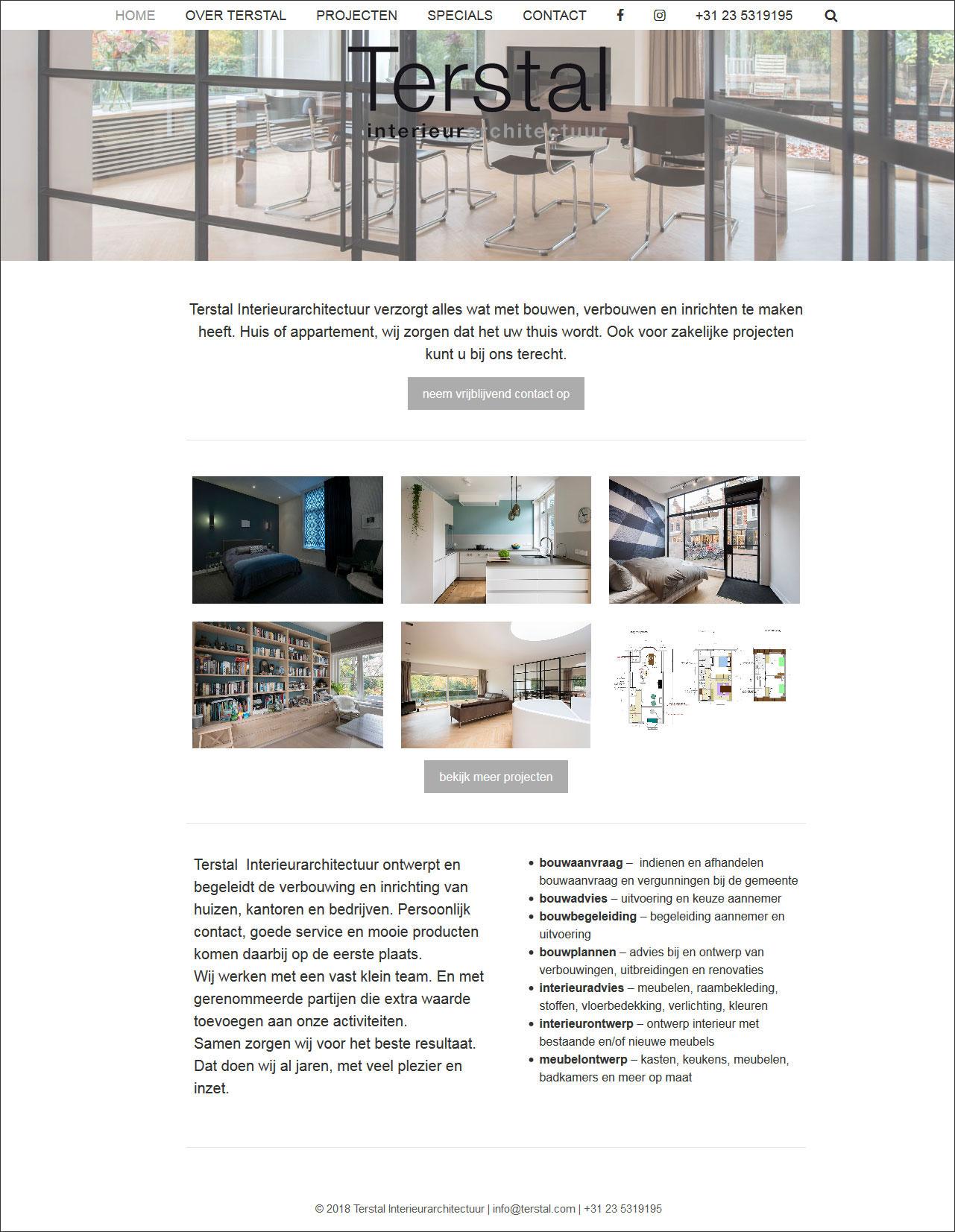 website Terstal Interieurarchitectuur