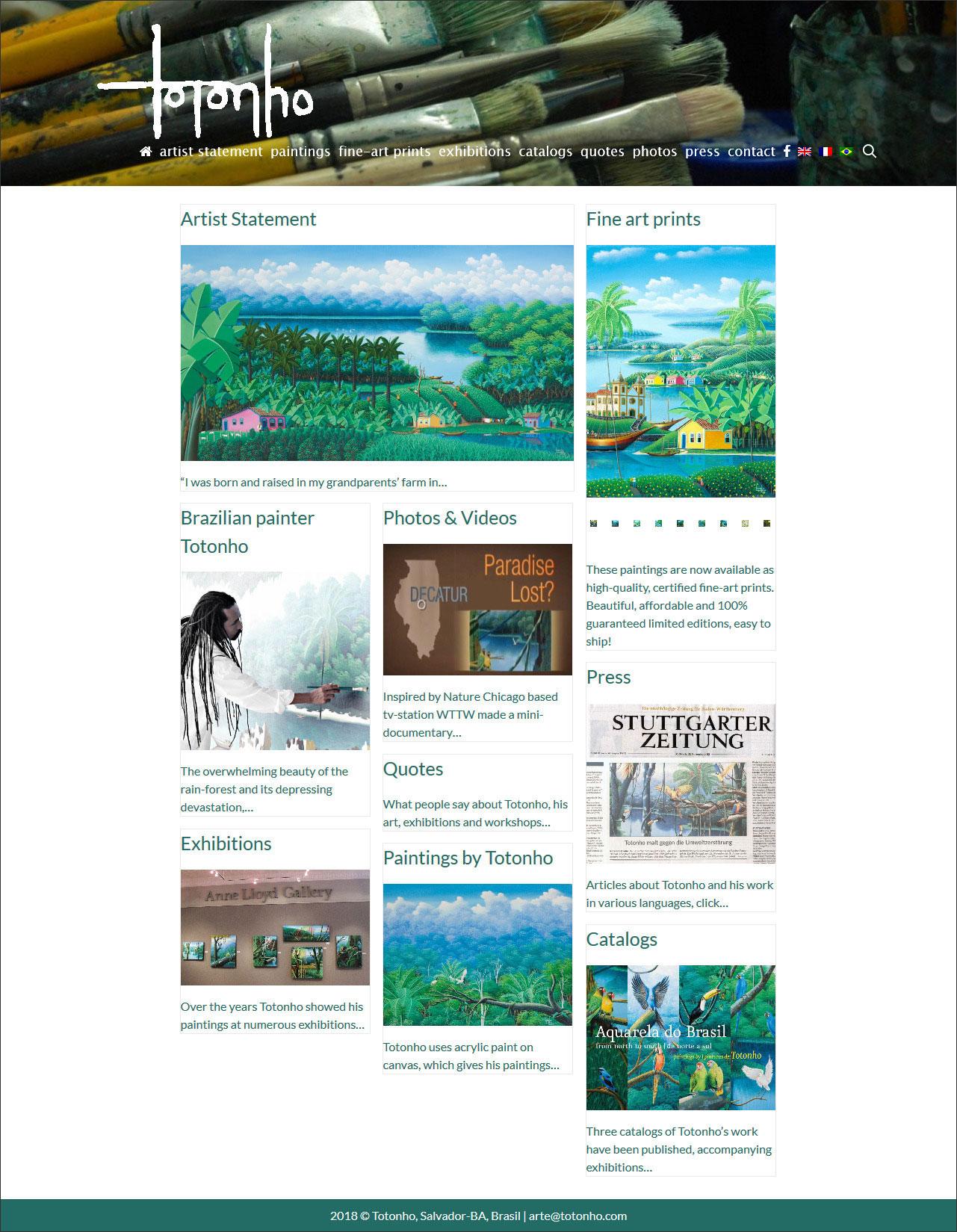 website Totonho Brazilian visual artist