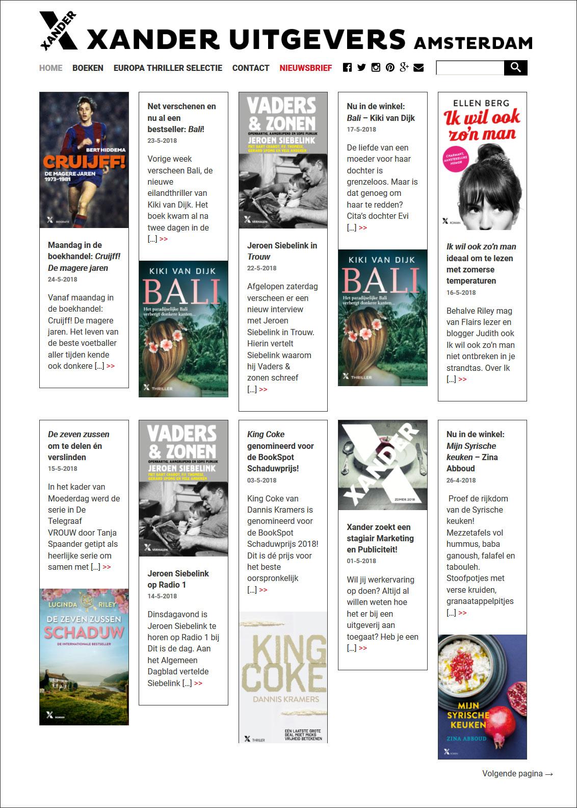 website Xander Uitgevers door Alfabet Produkties